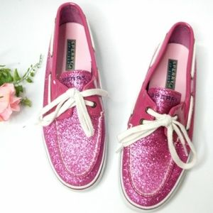 Sperry Pink Metallic Sequin Loafer Boat Shoe Flats